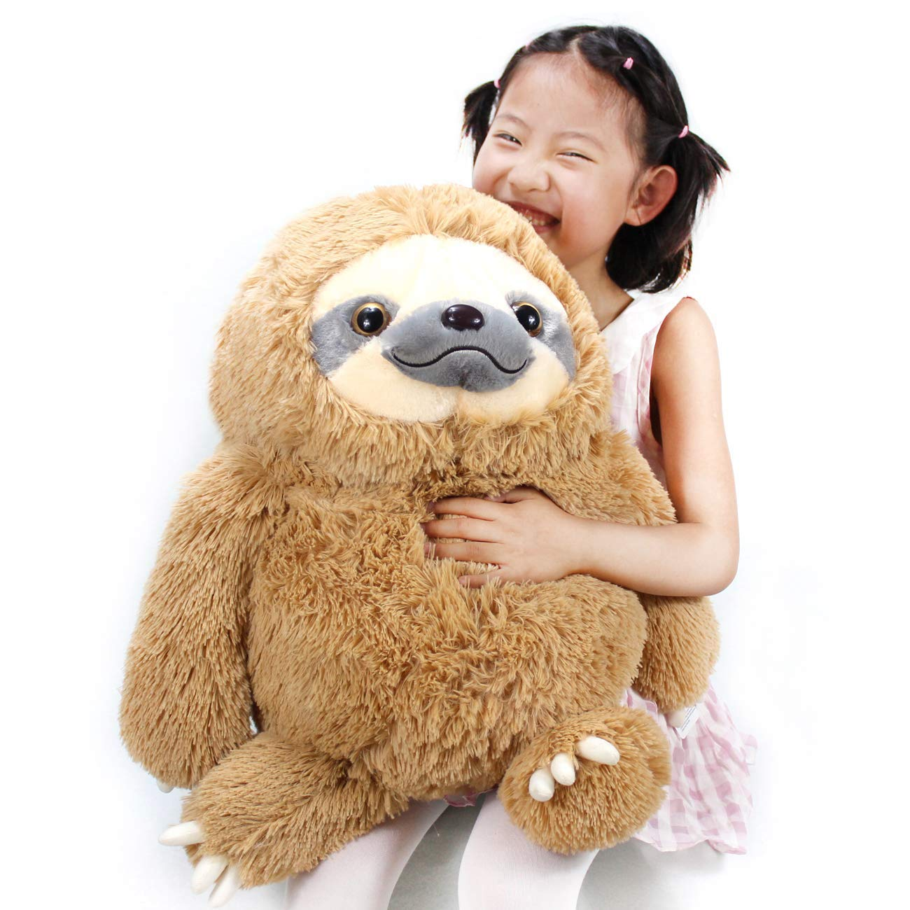 Winsterch Fluffy Sloth Stuffed Animal Toy Gift for Kids Large Plush Sloth Bear Baby Doll Birthday Gifts ,19.7 inches by Winsterch