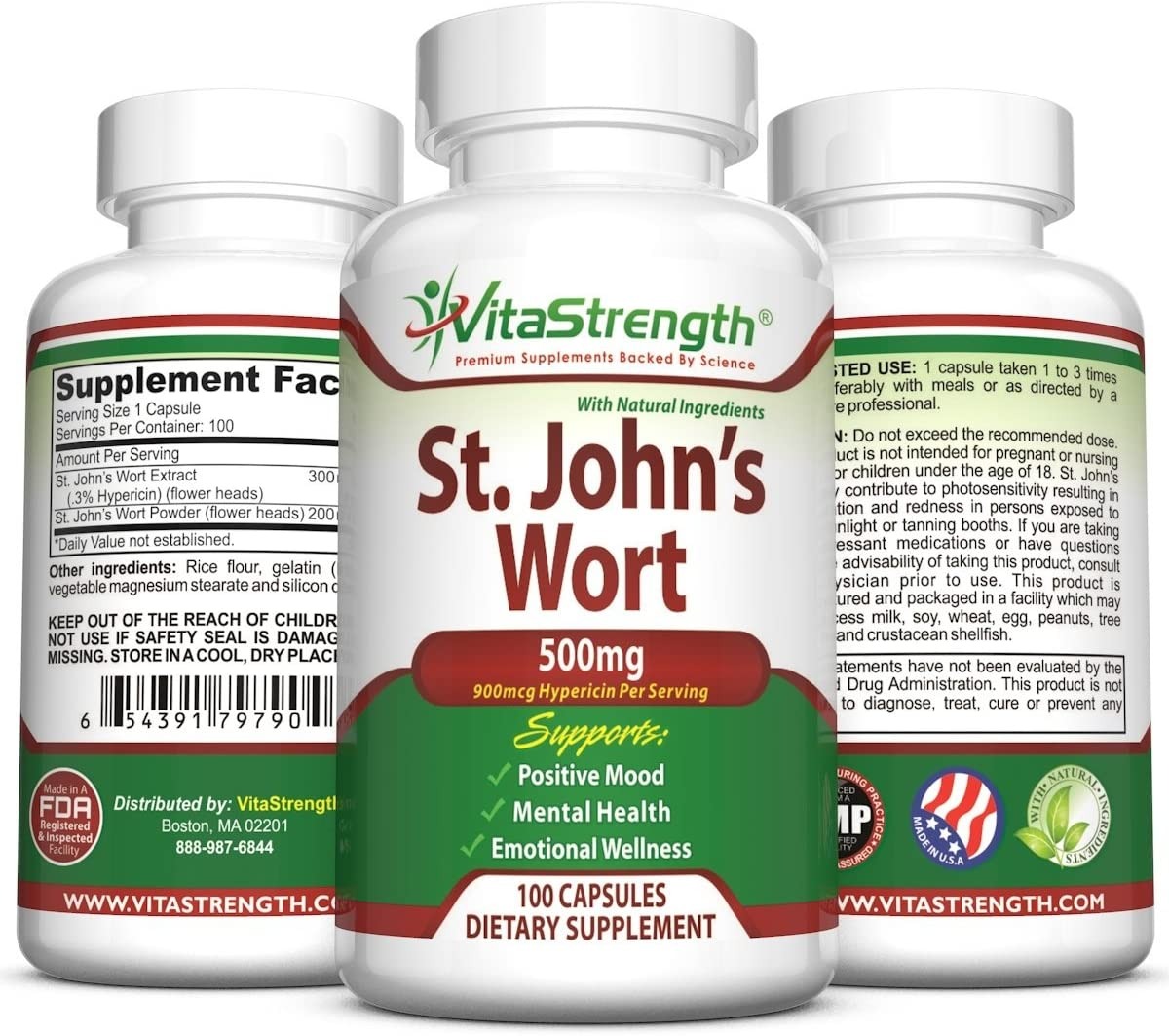 St. John s Wort – 500mg x 100 Capsules – Saint Johns Wort Extract for Mood Support – Promotes Mental Health Positive Emotional Wellness