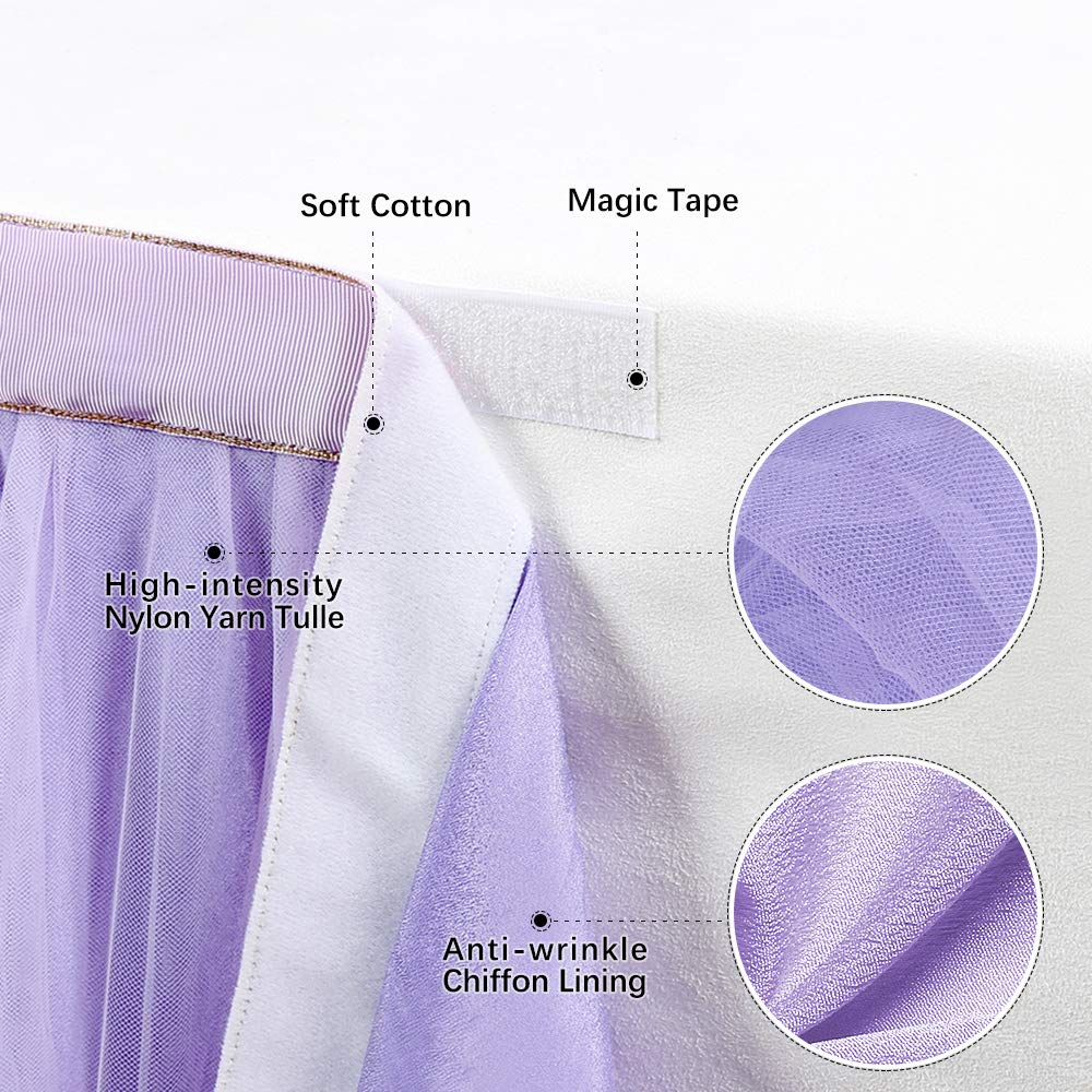 B-COOL Lovely Light purple Tulle Tutu Table Skirt 4.5 yards Tulle Table Cloth Skirt Customized Romantic Girl Princess Birthday Party Table Skirts Banquet Table Decorations(L14(ft) H 30in) by B-COOL (Image #7)