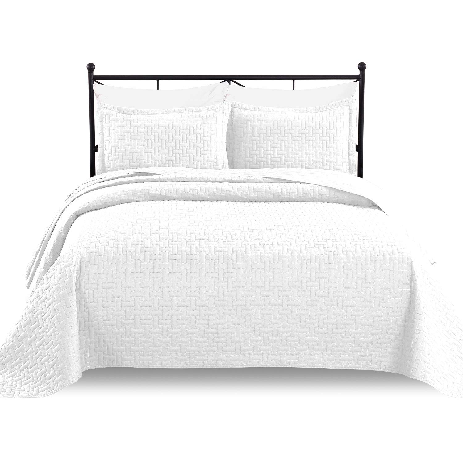 Luxe Bedding 3-Piece Oversized Quilted Bedspread Coverlet Set (Full/Queen, White)