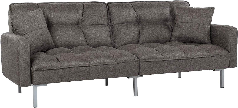 8/ Divano Roma Furniture Collection Modern Plush Tufted Linen Fabric Sleeper Futon