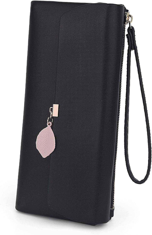 UTO-Wristlet-Wallet-for-Women-Leather PU Card Phone Checkbook Holder Zipper Coin Purse Leaf Pendant Strap