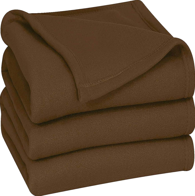 Utopia Bedding Fleece Blanket Queen Size Chocolate Soft Warm Bed Blanket Plush Blanket Microfiber