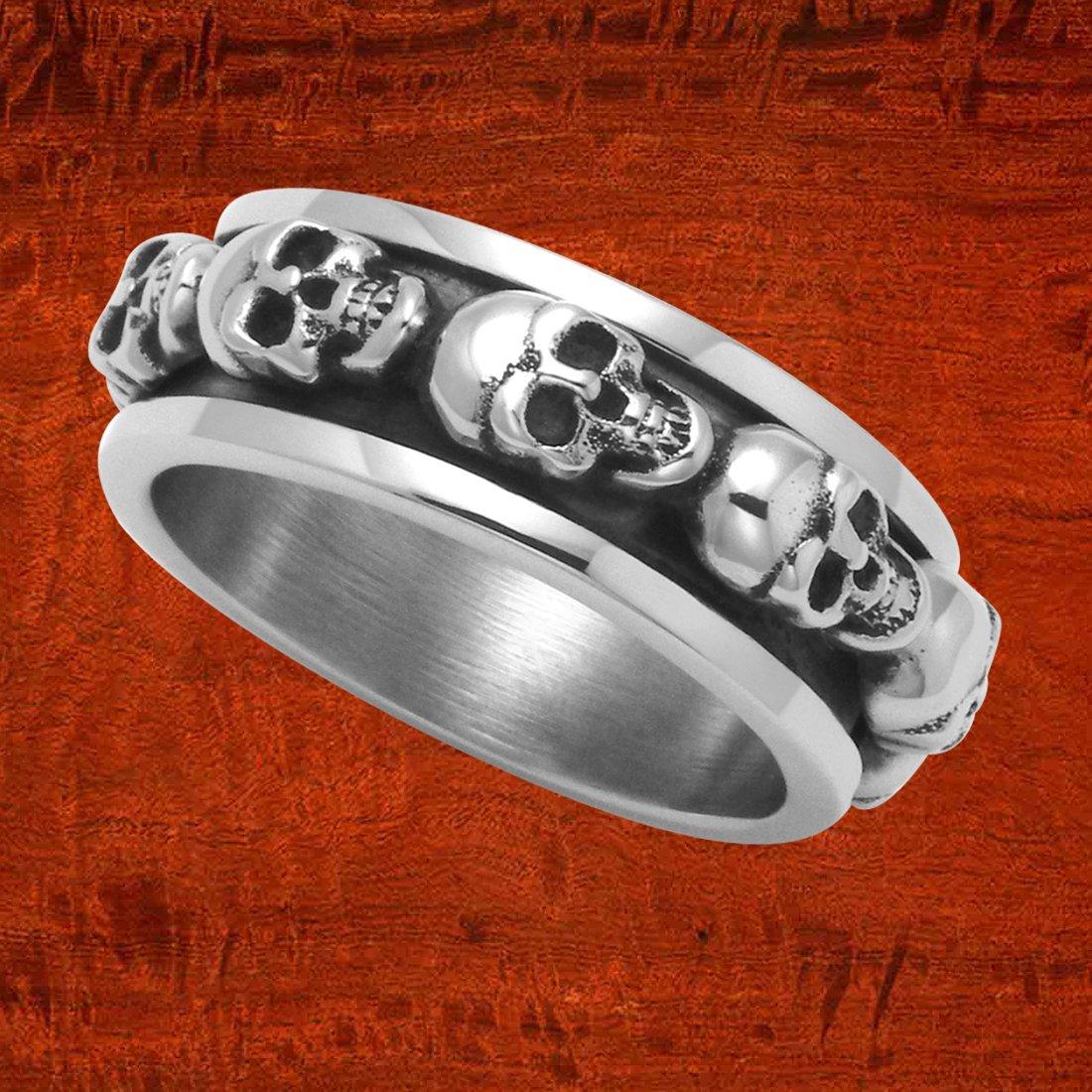 Wild Things Sterling Silver Skulls Spinner Ring (13)