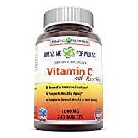 Amazing Formulas Vitamin C with Rose Hips Dietary Supplement - Non-GMO 1000 Mg 240...