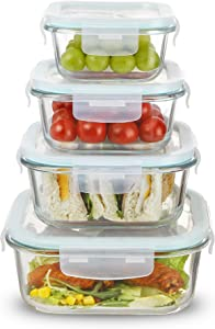 Sweejar Glass Food Storage Containers Set with Lids(8 piece),Square Airtight Glass Meal Prep Containers,Lunch Box Containers,Freezer to Oven Safe