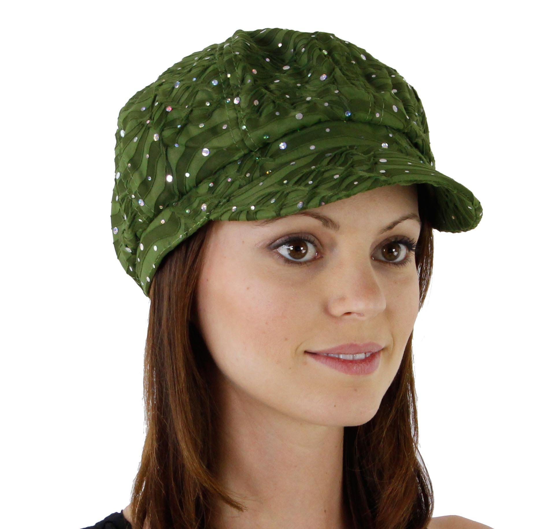 Glitter Sequin Trim Newsboy Style Relaxed Fit Cap, Olive Green by Greatlookz Fashion (Image #1)
