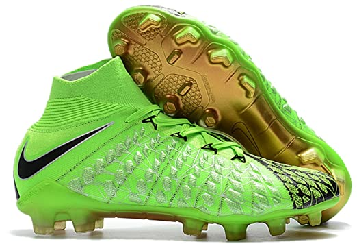 Mens High Ankle Soccer Cleats Nike Hypervenom Phantom III DF FG  GreenBlack (9.5