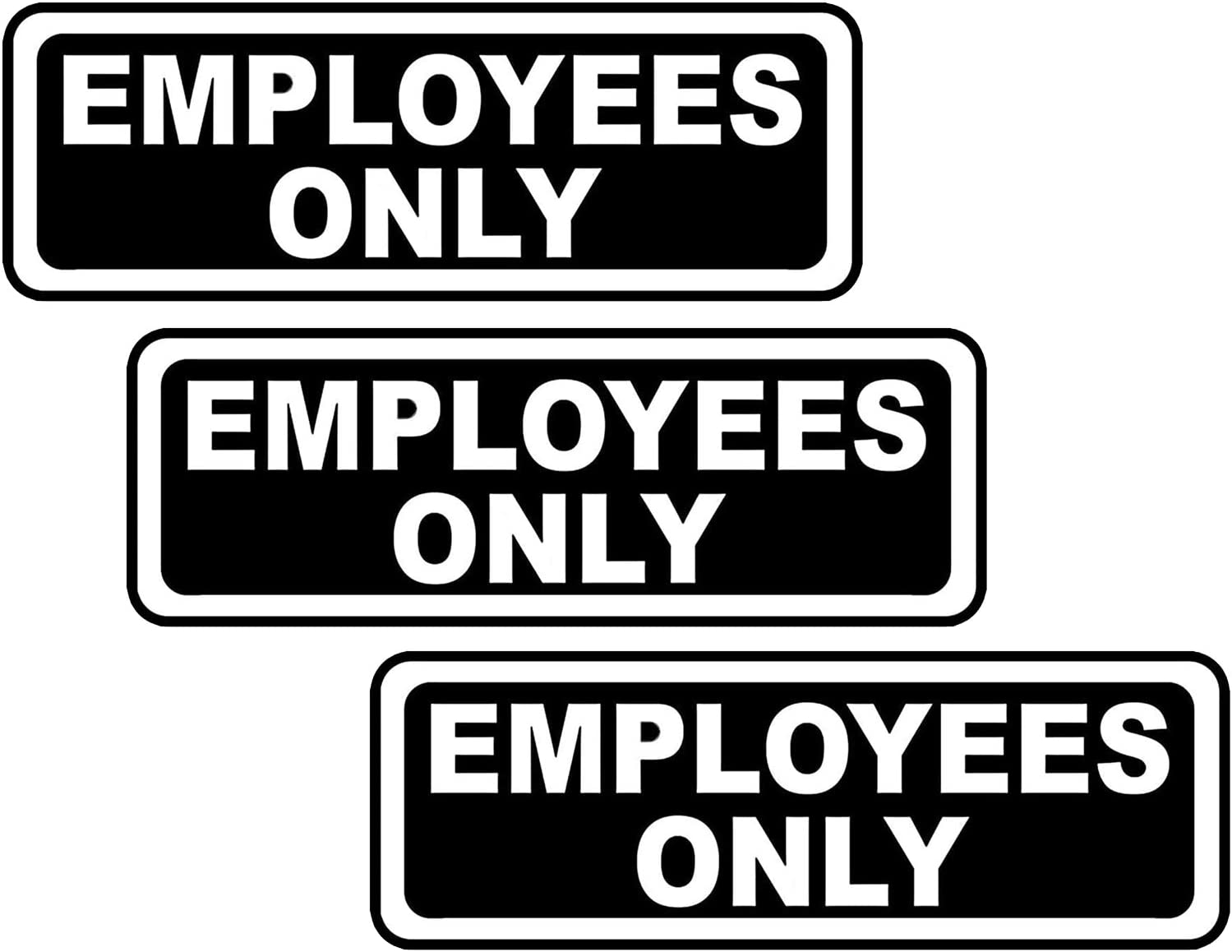 Employees Only Sign, Office Door Business Store Wall Canteen Restroom Information Sign,Acrylic Signs with Strong Adhesive Without Any Tools(3Pack,7.7 X 2.5 inch)