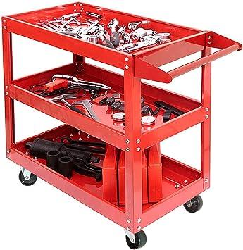 Up to 100kg capacity Heavy Duty Workshop Garage 2 Tier Shelf Workshop Trolley Wheel Cart Trolley Tool Trolley Service Tool Cart Tool Storage