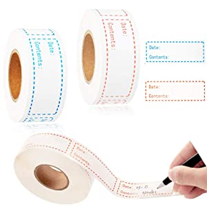LiLiy Household Storage Classification Date Content Label Tape 2 Rolls,Kraft Paper Waterproof Oil-Proof Food Condiment Clothing Stickers