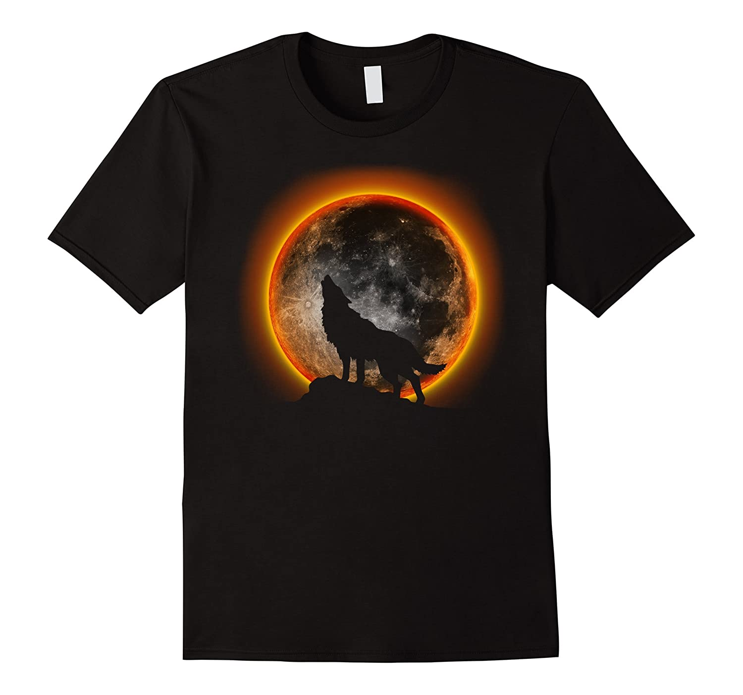 2017 Total Solar Eclipse T-Shirt - Wolf , Moon and Sun Shirt-TH