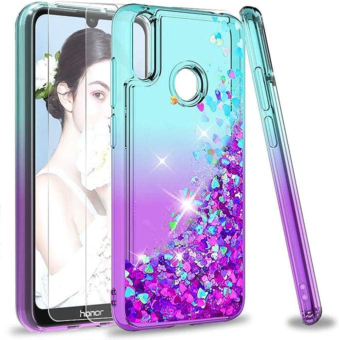 LeYi Cover Huawei Y7 2019 Glitter Custodia con Vetro Temperato [2 Pack],Brillantini Silicone Sabbie Mobili Bumper Case per Custodie Huawei Y7 2019 ZX ...
