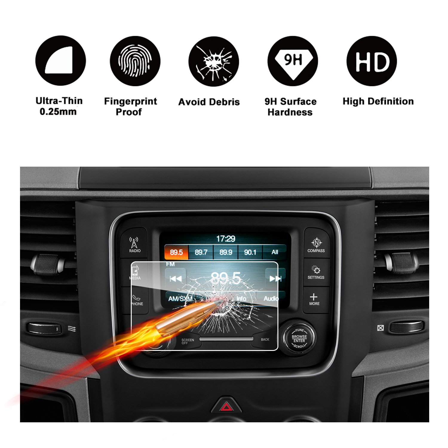 2013-2018 Dodge Ram 1500 2500 3500 Uconnect Touch Screen Car Display Navigation Screen Protector, RUIYA HD Clear Tempered Glass Car in-Dash Screen Protective Film (5-Inch)