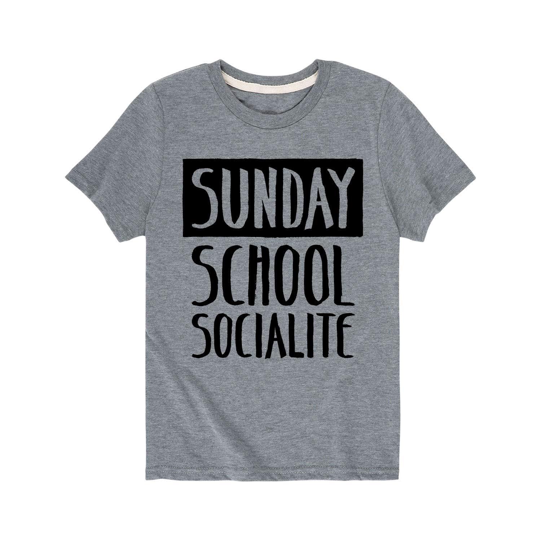 Sunday School Socialite Toddler Short Sleeve Tee Athletic Heather