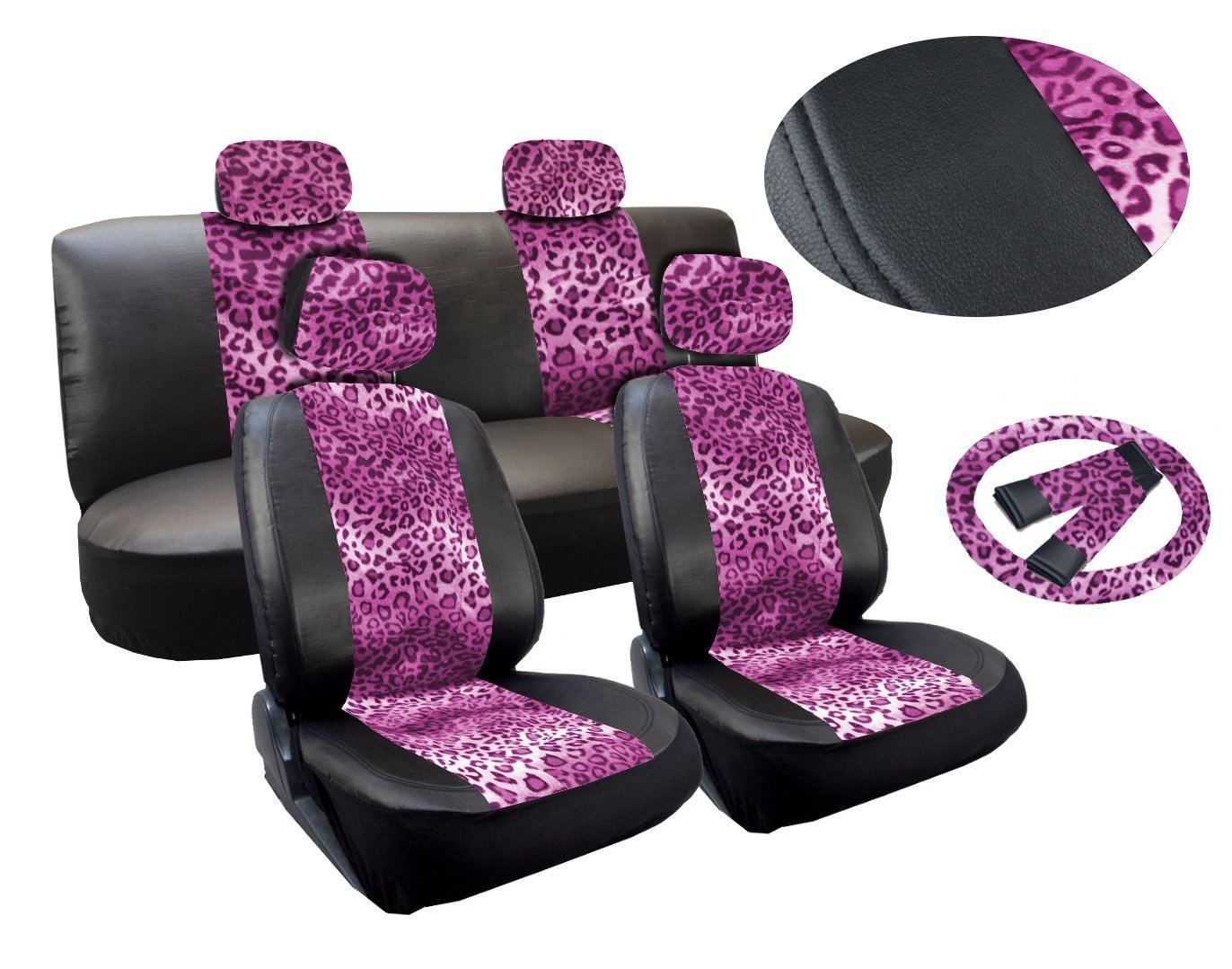 Amazon Leopard Print Deluxe Leatherette 13pc Full Car Seat Cover Set Premium Synthetic Leather Double Stitched