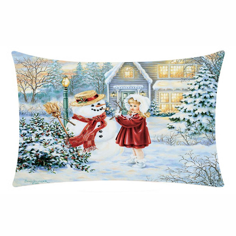 Chenway Merry Christmas Rectangle Pillow Case, Pillowslip Zipper Cushion Festive Decoration CaseCover for Sofa Living Room Home Decor (C)