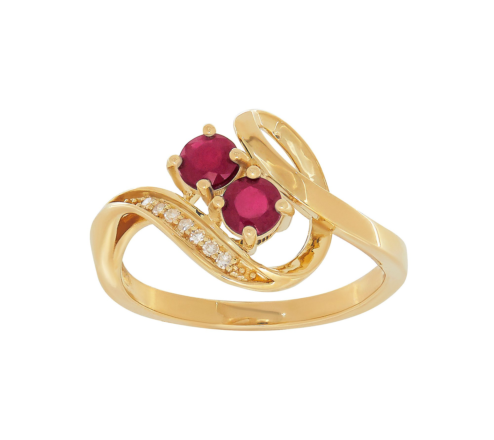 Two Stone Glass-filled Ruby Ring in 10K Yellow Gold with 0.03 ct. t.w. Diamond Accent by Fine Jewelry