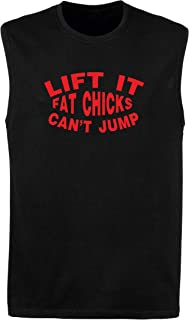 T-Shirtshock Canottiera Uomo Nera FUN2358 Lift Fat Chicks Cant Jump