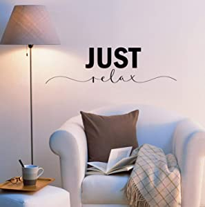 Vinyl Wall Decal Just Relax Bedroom Yoga Spa Massage Room Quote Saying Phrase Stickers ig6213 (22.5 in X 6.5 in)