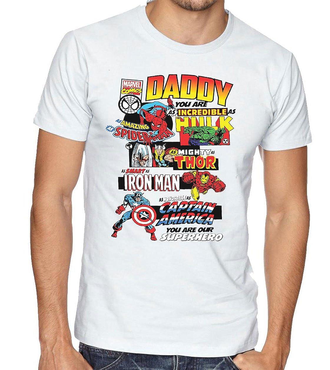 b44baa6c Daddy Marvel Comic Book Style Fathers Day T-Shirt Dad Present Gift Superhero  Tee: Amazon.co.uk: Clothing
