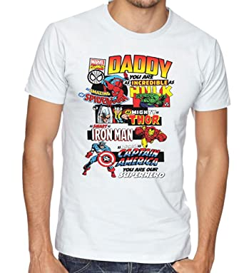 d060b3ec Daddy Marvel Comic Book Style Fathers Day T-Shirt Dad Present Gift  Superhero Tee: Amazon.co.uk: Clothing