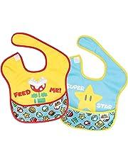 Bumkins Nintendo Super Mario SuperBib, Baby Bib, Waterproof, Washable, Stain and Odor Resistant, 6-24 Months, 2-Pack