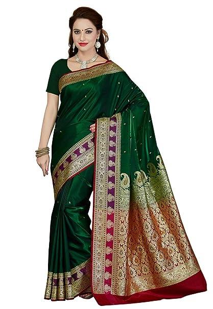 2ce3a02fdc Ishin Silk Saree (Sngm-16575_Green): Amazon.in: Clothing & Accessories