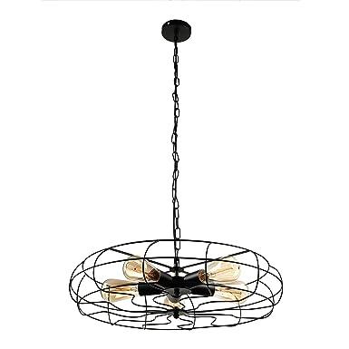 BAYCHEER HL416586 Industrial Vintage Wrought Iron Semi Flush Mount Ceiling Light Chandelier Metal Hanging Fixture with 5 Lights, Black