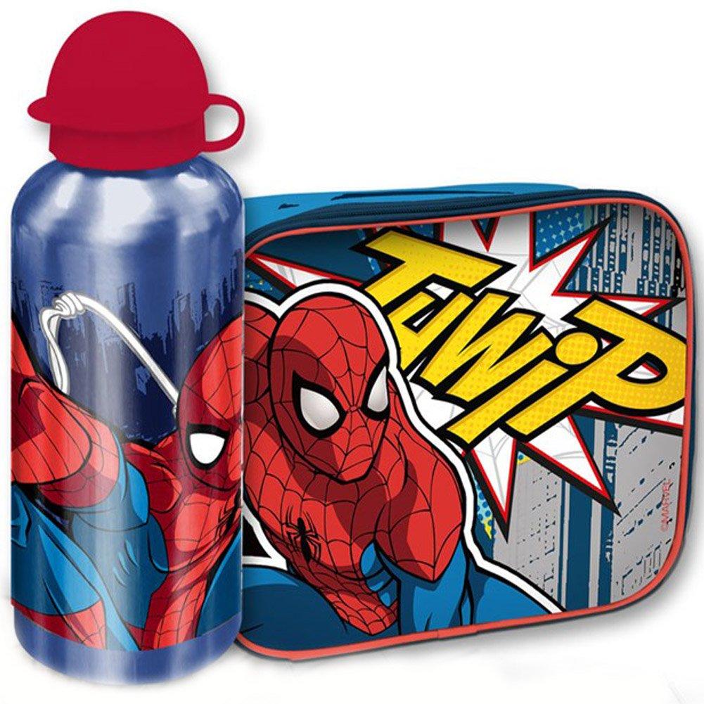 Bakaji Kit Spiderman Borsa Termica con Borraccia Alluminio Cestino Termico Uomo Ragno Merenda per Bambini Portamerenda Colazione Lunch Box