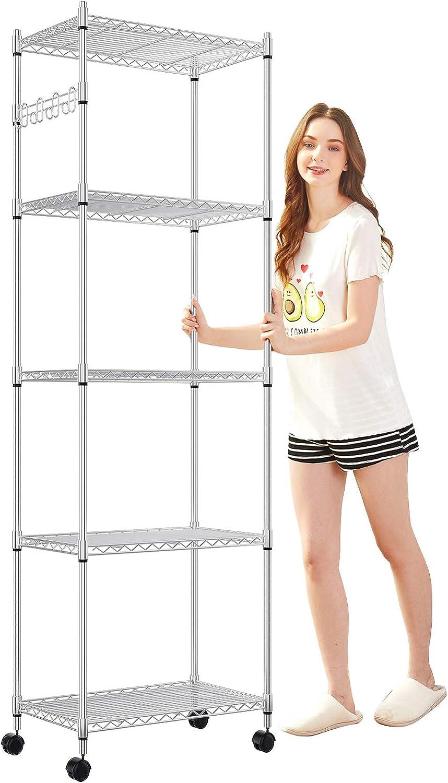 Devo 5-Tier Storage Shelf Wire Shelve Unit Rack Organizer for Garage Level Adjustable,Side Hooks Silver
