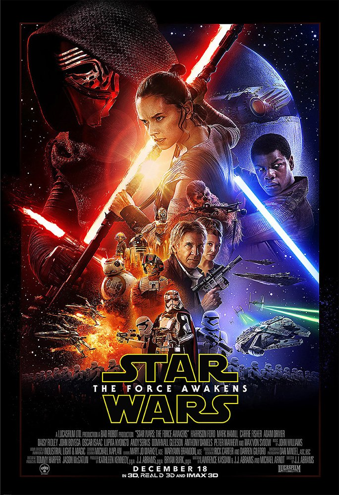 Star Wars 7 : The Force Awakens (2015) - Main - 13 in x 19 in Movie Poster Flyer BORDERLESS + Free 1 Tile Magnet