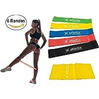 Atletix Bandas de Resistencia para Ejercicio de Piernas - 5 Ligas Elasticas Fitness + Cinta de Estiramiento Gratis. Uso para Gym, Pilates, Yoga y en Casa - 100% Látex Natural
