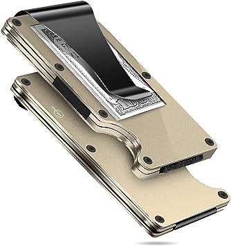 MUCO Tarjeteros para Tarjetas de Credito Tarjetero Hombre de Aluminio para la aviación Mini tarjetero metalico para 10-12 Tarjetas cartera tarjetero hombre en Protección RFID Resistente a los arañazos: Amazon.es: Equipaje