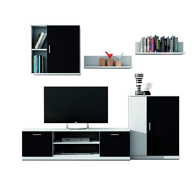 FabriKit 70220TBC - Mueble de comedor, salon moderno acabado en Blanco y Negro, medidas 220 cm de ancho