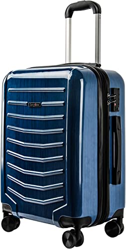 CarryOne Expandable Luggage 21Inch Carry On PC ABS Suitcase Built-in TSA Lock with 4 Double Silent Spinner Wheels,TD1-Blue