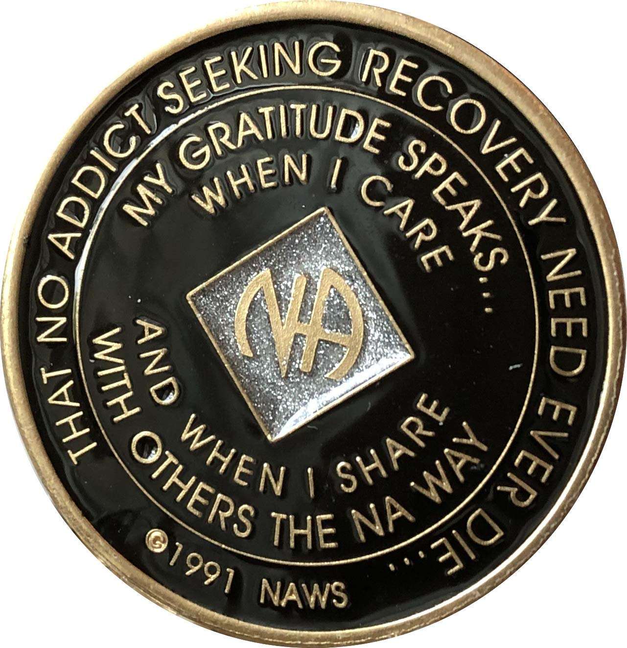 30 Year Black and Silver Glitter NA Medallion Official Narcotics Anonymous Chip