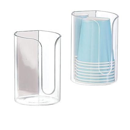 mDesign Dispensador de vasos desechables - Juego de 2 portavasos de ...