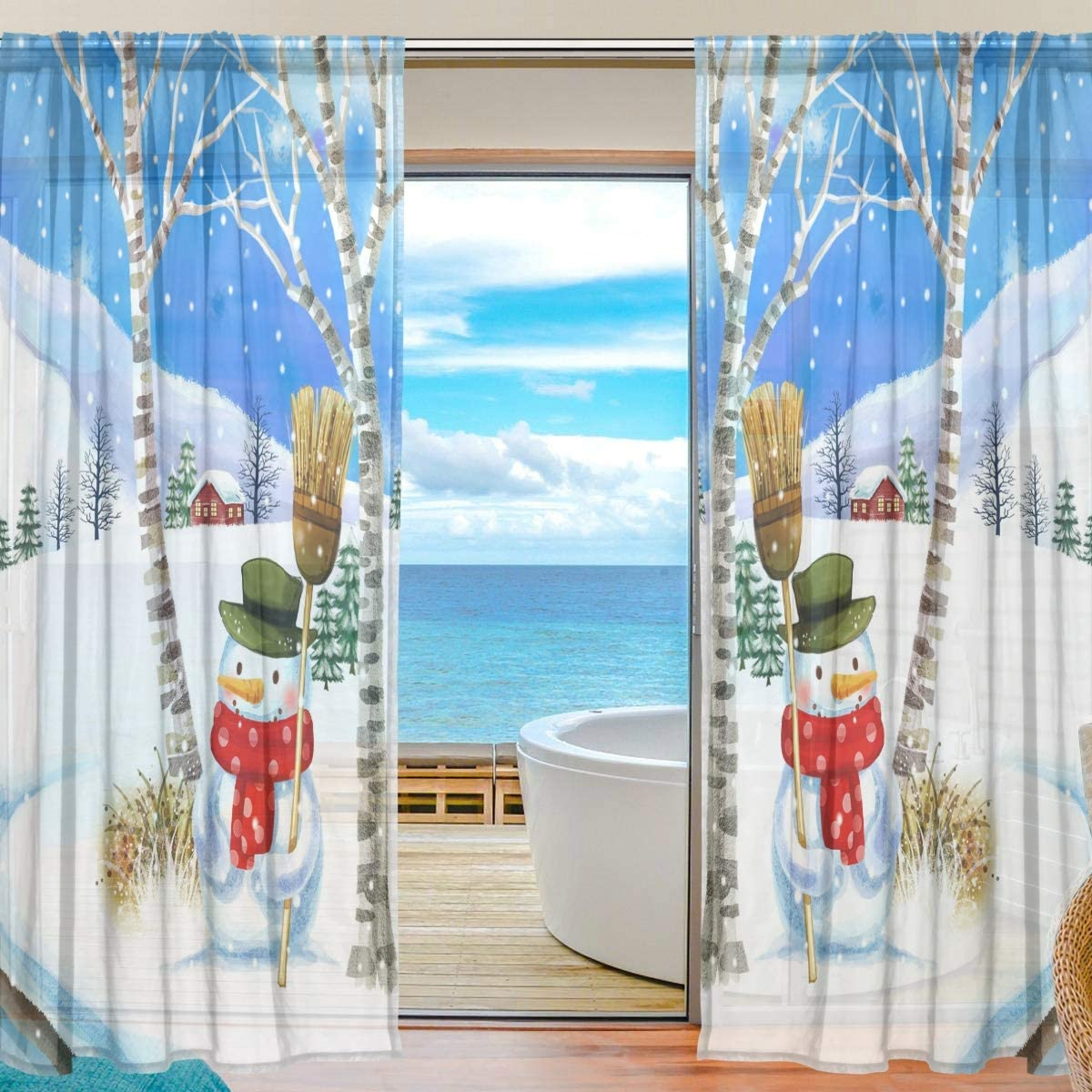 Amazon Com Welllee Winter Holiday Christmas Scene Voile Sheer Window Curtain Door Way Tulle Curtain Drapes Panels For Living Room Bedroom Kitchen 55x78 Inch 2 Pcs Home Kitchen