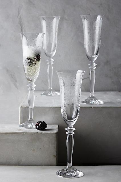 Horta Champagne Glasses - anthropologie.com