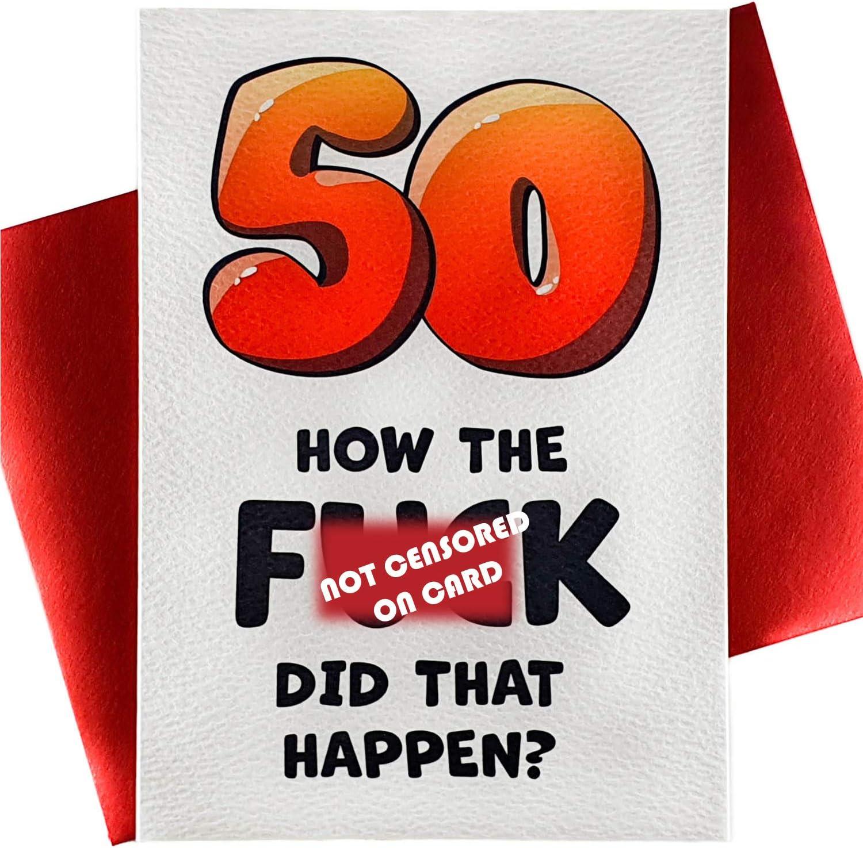 Amazon Com Luxury 50th Birthday Card Funny Happy Birthday Card For Husband Wife Mom Happy Birthday Cards For Men Women Sister Girlfriend Boyfriend Dad Old Joke 50 Premium Office Products
