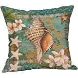 Uscharm Ocean Beach Sea shell Cotton Linen Pillow Case Sofa Throw Cushion Cover Home Decor Happy Sunmer Time Throw Pillowcase (D)