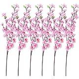 TOOGOO(R) 6 Mazzi di fiori di pesco artificiali con 3 steli forcella per l'ufficio decorazione domestica Rosa