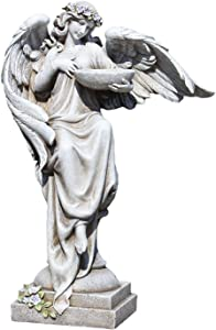 Roman Joseph's Studio Angel with Bird Bath Statue, 20H, Garden Collection, Resin and Stone, Decorative, Religious Gift, Home Outdoor and Indoor Decor, Durable, Long Lasting