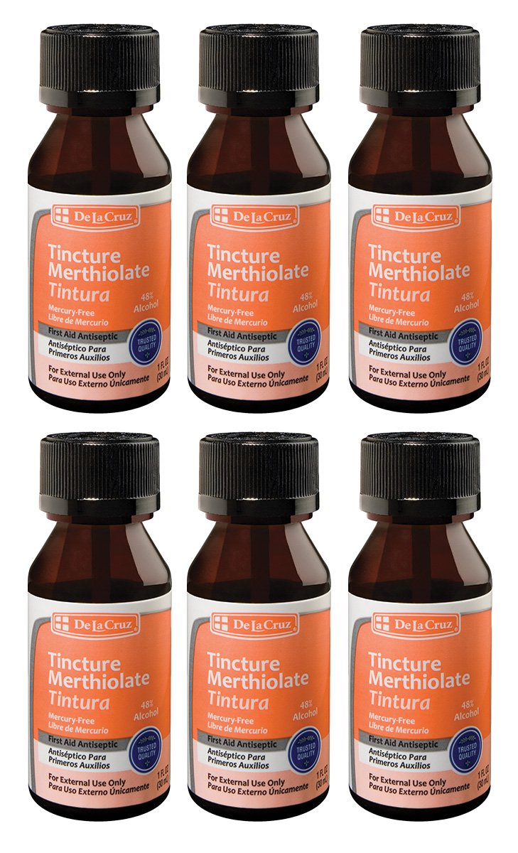 De La Cruz Merthiolate Tincture First Aid Antiseptic, Made in USA 1 FL. oz. (6 Bottles)