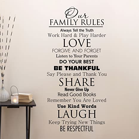 Ditooms Family Quotes Wall Decal Our Family House Rules Home Love Do Your  Best Wall Art Vinyl Decal for Room Decor