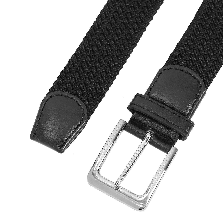 Black Men\'s Stretch Woven Belt 1.3\