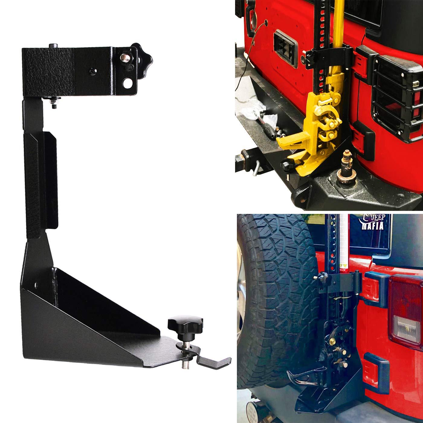 OMOTOR Off-Road Tailgate High Lift Jack Mount Bracket fit for Jeep Wrangler JK 2007 2008 2009 2010 2011 2012 2013 2014 2015 2016 2017 2018 (JK Tailgate Hi-Lift Jack Mount Bracket)