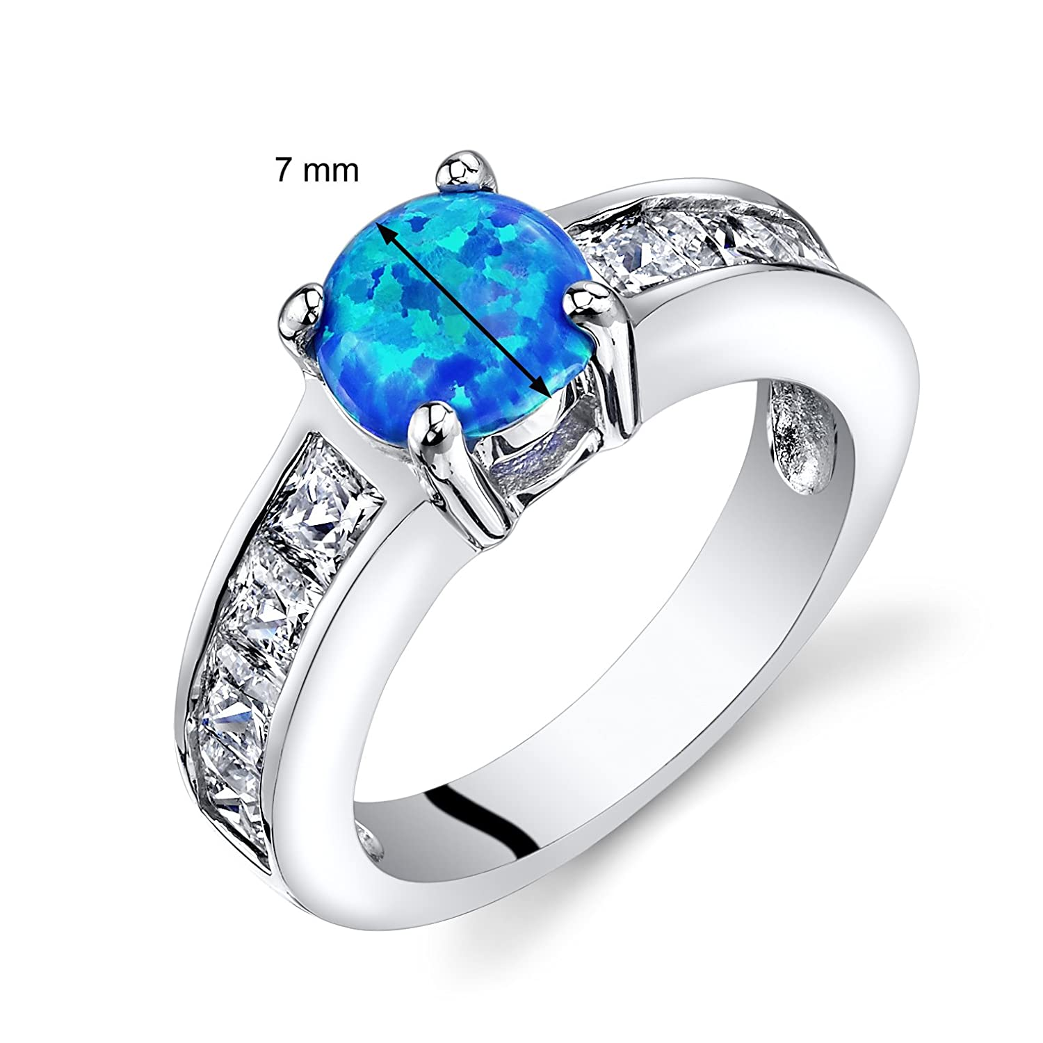 Peora Created Blue Opal Mezzo Channel Ring Sterling Silver 1.00 Carats Sizes 5 to 9