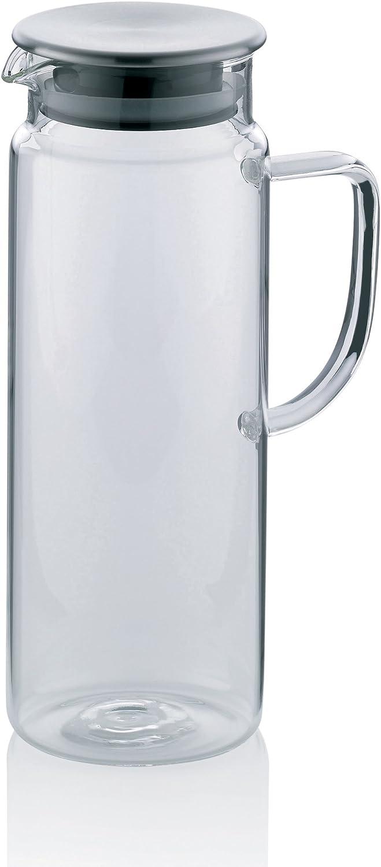 kela 11397 Pitcher - Jarra (1 l, Cristal, con Tapa de Acero Inoxidable, diámetro de 8,5 cm, Altura de 23 cm)